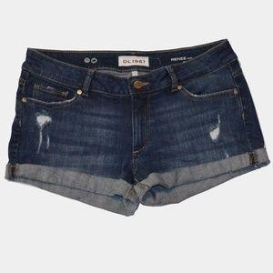 DL1961 Renee Laguna distressed cuffed shorts